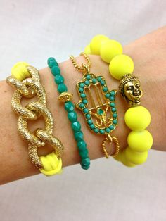 Canary Bracelet Stack in Neon Yellow and Teal, #armcandy, #teal, #neon, #buddha, #hamsa, #stacked, #bracelets