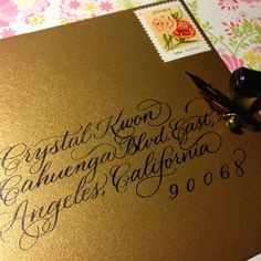 Sending out a thank you card! Sumi ink on classy PaperSource Stardream antique gold envelope.  ✨✨✨