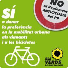 Sí a donar la preferència en la mobilitat urbana als vianats i a les bicicletes. No al Reglament General de Circulació ANTICICLISTA del PP http://elsverdsdegandia.net
