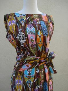 Vintage tiki print dress