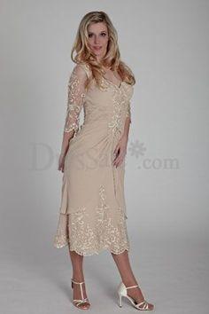 Embroidered Chiffon Tea Length Dress