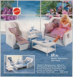 Barbie- Barbie's Living Room (Wicker Furniture, multifunctional) (I loved these because they were really detailed and not pink for a change)