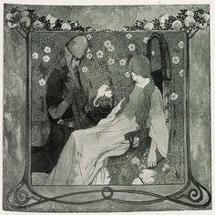 'Dornroschen' tapestry design by Heinrich Vogeler, produced in Carole King, Heinrich Vogeler, Howard Pyle, Call Art, Tapestry Design, Woodblock Print, Community Art, Art World, Medieval
