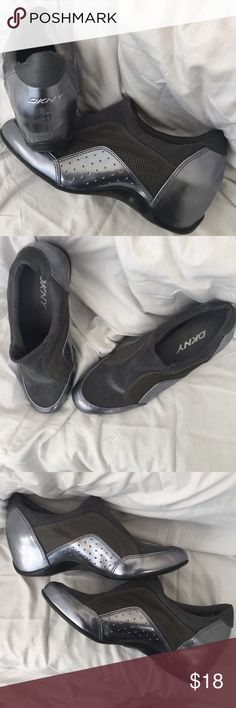 DKNY Gunmetal Slip on Fabric and man made material. Shine to the toe area and around the heel. Gently worn. DKNY Shoes Flats & Loafers