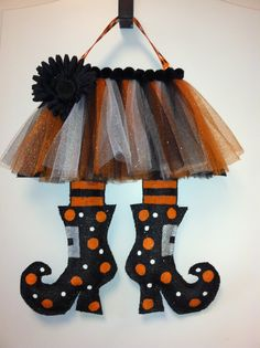 Witches Legs Burlap Door Hanger by ILoveItDesigns on Etsy, $30.00