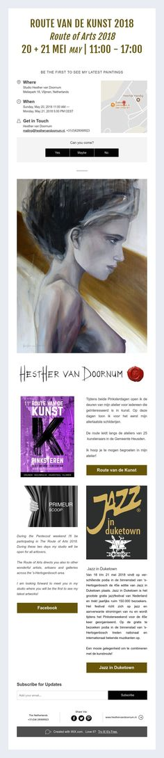 ROUTE VAN DE KUNST 2018  Route of Arts 2018  20 + 21 MEI MAY | 11:00 - 17:00     BE THE FIRST TO SEE MY LATEST PAINTINGS Dutch Artists, 21st, Van, Paintings, Vans, Painting, Draw, Portrait, Resim