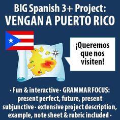 Spanish - BIG Project - Persuasive Letter to Come Visit Puerto Rico Spanish Classroom, Teaching Spanish, Living In Puerto Rico, Persuasive Letter, Weather Vocabulary, Future Tense, Hispanic Culture, 2 Letter, Friendly Letter
