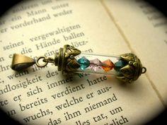 Custom Birthstone Vial Necklace, Choose up to 4 Swarovski Crystal Birthstones from Black River Beads for $12.00 – $15.00
