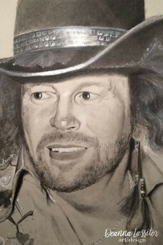 David Allan Coe country legends series charcoal portrait on toned paper