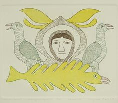 Colourful Spirit, Kenojuak Ashevak - Cape Dorset | Innuit Art Gallery - London Ontario