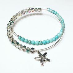 Beautiful set of 2, expandable bracelets with Starfish Charm.