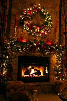 Fireplace christmas time
