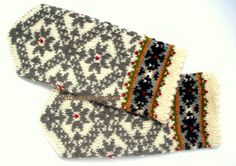 Hand knitted mittens Wool mittens Knit wool gloves Winter mittens Patterned mittens Gray star ornament on a white background Latvian mittens