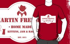"""Martin Freeman is home made from jam, kittens, and rage. EST. 1971"" Tee Shirt, $25 via RedBubble.Com --- This is my frivolous purchase for the month of January. Yup. Totally justifiable. #Sherlock #BBC"