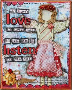 This is a canvas created using my favorite Authentique Joyous paper line. I also used Viva Inka Gold, Faber Castell Artist Pitt pen, Julie Nutting Angel wings stamp, Silks acrylic glaze, and more! Mixed Media Canvas, Mixed Media Art, Mix Media, Inka Gold, Christmas Angels, Winter Time, Art World, Altered Art, Faber Castell