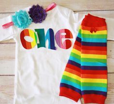 Rainbow Birthday One Outfit for Girls First by RightUpYourAli1, $42.00