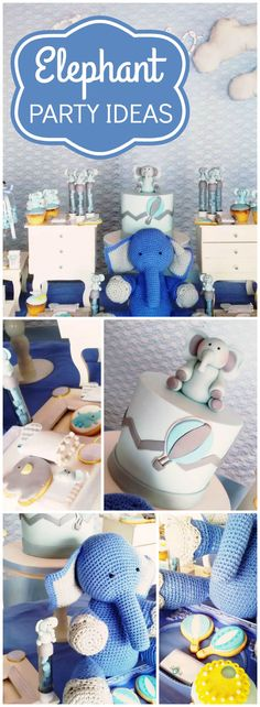 Check out this cute blue elephant baby shower party! See more party ideas at CatchMyParty.com!