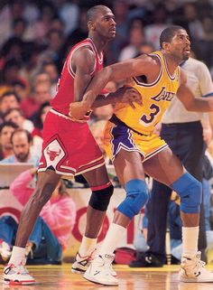 """Air Jordan IV --Colorway: """"Fire Red"""" --Michael Jordan's footwear reached new heights when the """"Fire Red"""" Jordan 4 was featured in Spike Lee's classic Do the Right Thing. Image: MJ with Laker Legend Magic Johnson. Michael Jordan Basketball, Basketball Is Life, Basketball Legends, Basketball Players, Basketball Jones, Basketball Shirts, Basketball Hoop, Larry Bird, Showtime Lakers"""