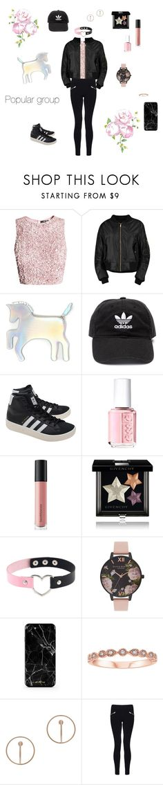 """Popular Girl♡"" by blue-cookies on Polyvore featuring Boohoo, WithChic, adidas, adidas Originals, Essie, Bare Escentuals, Givenchy, Olivia Burton, Charlotte Chesnais and Dorothy Perkins"