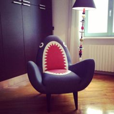The Rodnick Band's Shark Chair in Claire and Gigi's Cordusio apartment.