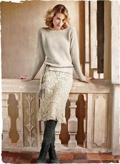 Ivory cotton lace skirt.