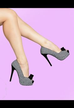 Bella Platform Peep Toe Heel in Houndstooth