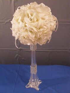 Wedding Centerpiece  // Reception Flower Centerpiece // Banquet Flowers // Tall Flowers // White Roses. $75.00, via Etsy.