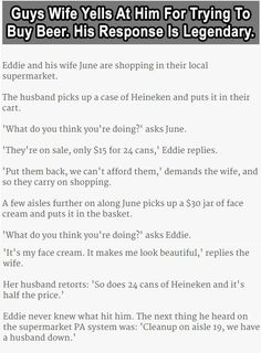 Guys Wife Yells At Him For Trying To Buy Beer His Response Is Legendary funny quotes quote beer jokes story lol funny quote funny quotes funny sayings joke humor stories