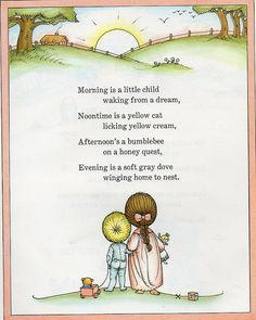 this was my favorite book as a child....i recently purchased the same book i used to compulsively check out from the library, some twentyfive years hence, for my children. morning is a little child Joan Walsh Anglund.