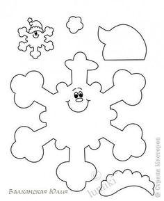 Вот такие смешные снежинки у меня получились в школу для ребёнка на украшение класса. Идею подсмотрела здесь http://stranamasterov.ru/node/118906?c=favorite Сзади ко всем снежинкам приделана верёвочка. А можно из них сделать и гирлянду, кому как нравится. фото 5