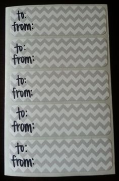 chevron to/from gift labels by kconnerdesigns on Etsy