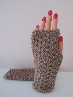 Knitted Fingerless Gloves Unisex Hand Knit Gloves in by Madebyfate, $20.00