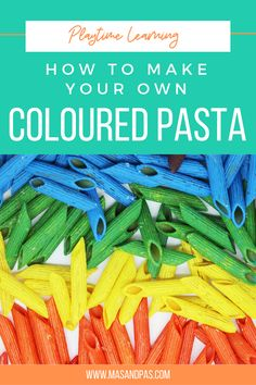 Here is a step by step guide on how to colour pasta for play. This approach is simple and easy to do and will have children playing in no time! This dyed pasta recipe makes super bright colours quickly. The dyed pasta is perfect for making necklaces, using in sensory bins or as counters! #kidssensoryplay #stemactivities #stemactivitiesforkids #kidsplay Fun Activities For Kids, Fun Crafts For Kids, Craft Activities, Epic Kids, Cool Kids, Sensory Bins, Sensory Play, Colored Pasta, Make Your Own