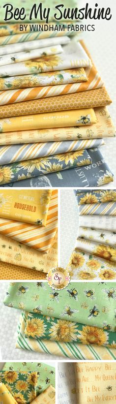 Bee My Sunshine by Whistler Studio is a sunny collection filled with cheerful sunflowers and charming bees that will add a summer touch to any decor from Windham Fabrics available at Shabby Fabrics.