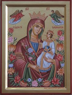 Virgin with child Icon painter : Adamantia Karatza Religious Icons, Religious Art, Images Of Mary, Joseph, Queen Of Heaven, Russian Icons, Byzantine Icons, Orthodox Icons, Blessed Mother