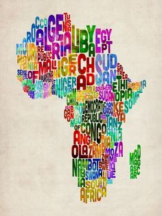 """Typography Map of Africa"" by Michael Tompsett"