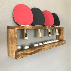 Ping Pong Ball and Paddle holder. This is a custom, unique piece thats practical and stylish! Hangs flush to the wall creating a sleek and modern way to keep the paddle and balls off the floor. **Custom order welcome** This can be done in a number of Garage Game Rooms, Game Room Basement, Basement Bedrooms, Basement Ideas, Basement Plans, Teen Basement, Basement Decorating, Basement Ceilings, Basement Apartment