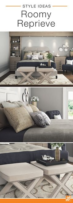 Layered textures make this roomy reprieve as stylish as it is comfortable. From the wooden dressers to the ceramic accessories, and even the wide variety of shag, woven, and metallic throw pillows, this eye-catching master bedroom is ideal for chic relaxation. Click to explore this stylish space.