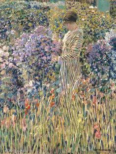 Frederick Carl Frieseke was an American Impressionist painter who spent most of his life as an expatriate in France. An influential member of the Giverny art colony, his paintings often concentrated on various effects of dappled sunlight.