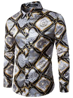 Lapel Leopard Grain Floral Printed Slim Men's Vogue Shirt - m.tbdress.com