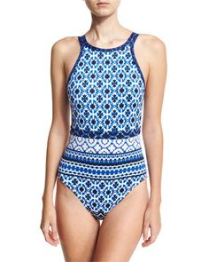 Shibori+High-Neck+One-Piece+Swimsuit,+Blue+by+Tommy+Bahama+at+Neiman+Marcus.