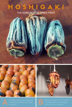 Hoshigaki are dried persimmons, made by a traditional Japanese method. It takes time, patience and a gentle touch. Here's a step-by-step guide how to make them. http://foodpreservation.about.com/od/DehydrateFruit/ss/How-to-Make-Hoshigaki-Japanese-Dried-Persimmons.htm