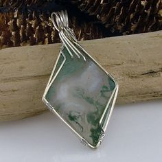 Wire Wrapped Moss Agate Pendant | AvaDesigns - Jewelry on ArtFire - $65