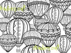 Hot Air Balloon coloring page Coloring page by Strawberrycraft