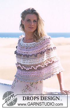DROPS CROCHETED PONCHO IN MUSKAT ~ DROPS Design Frilly poncho free
