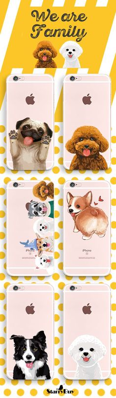 Bichon Frise,Border collie,Corgi,Cute Corgi butt,Cute Pug,Teddy with Pet family for iphone case | Check Out Collection here: https://www.starrybuy.com/collections/Pet | @starrybuy