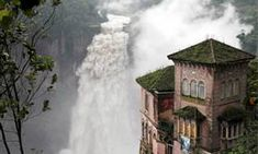 Hotel Del Salto – Colombia This hotel was built to overlook the Bogota River. Constructed in it gave tourists the opportunity to get close to the waterfalls and mother nature. Due to a number of safety concerns over time, the building was closed in Abandoned Buildings, Abandoned Places, Places Around The World, Around The Worlds, Places To See, Disneyland, Detroit, Colorado, Beautiful Places