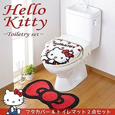 Hello Kitty toilet lid cover & mat set Sanrio from Japan Free Shipping