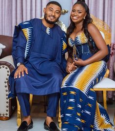 Couples African Outfits, African Wear Dresses, African Wedding Attire, African Attire, African Traditional Wedding Dress, African Inspired Clothing, Kente Dress, Matching Couple Outfits, Kente Styles