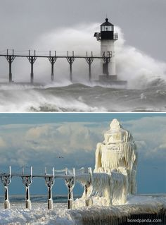 10+ Before-And-After Photos Of Winter's Beautiful Transformations / St Joseph Lighthouse, Michigan, USA